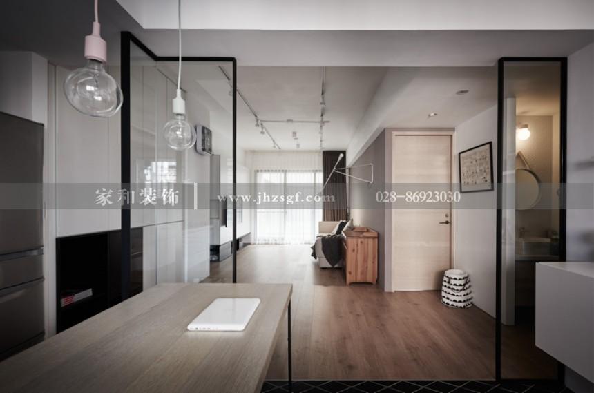 花与城现代简约三居室103㎡装修案例