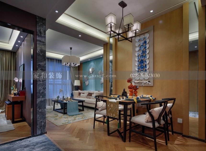 戛纳湾金棕榈新中式风格210㎡五居室装修案例
