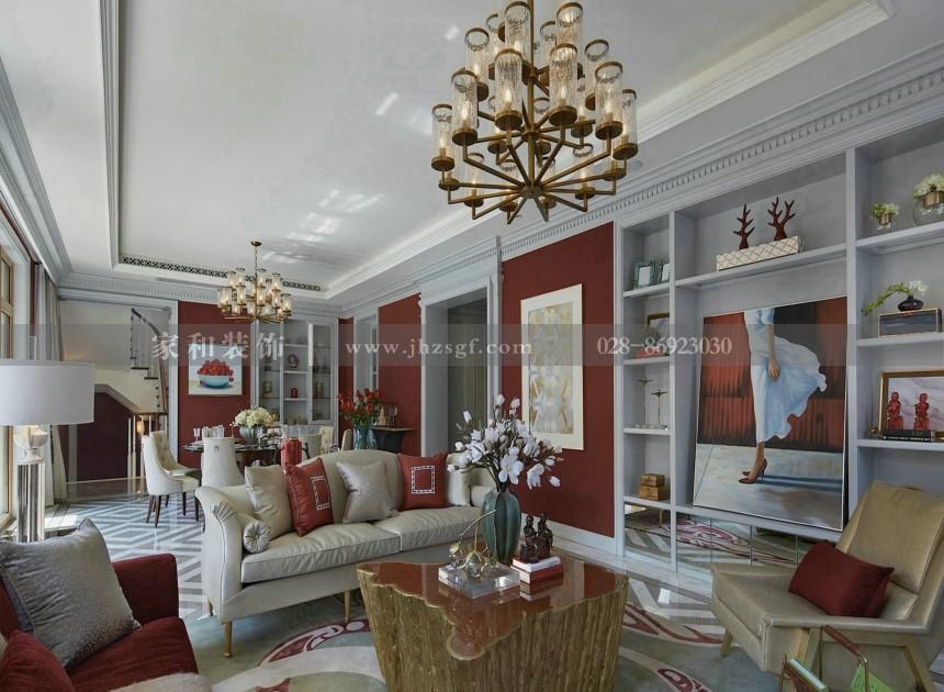 长桥郡新古典风格别墅360㎡装修案例