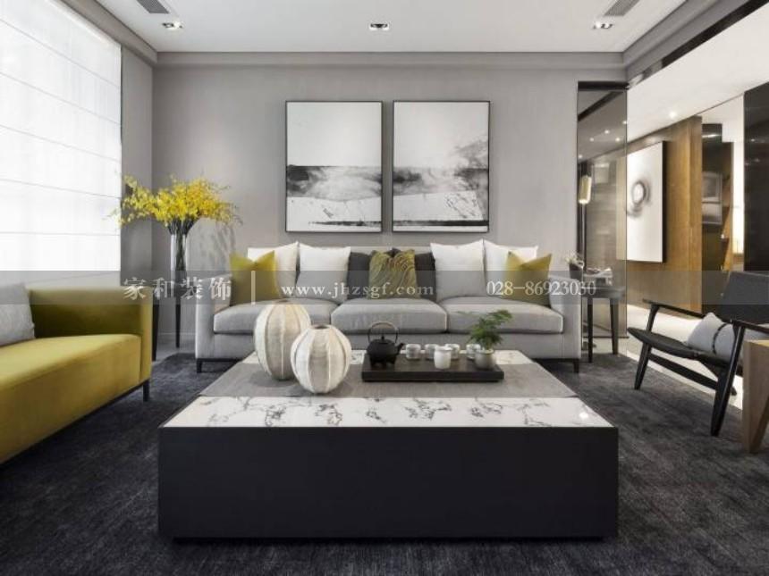 远大林语城现代简约风格123㎡三居装修案例