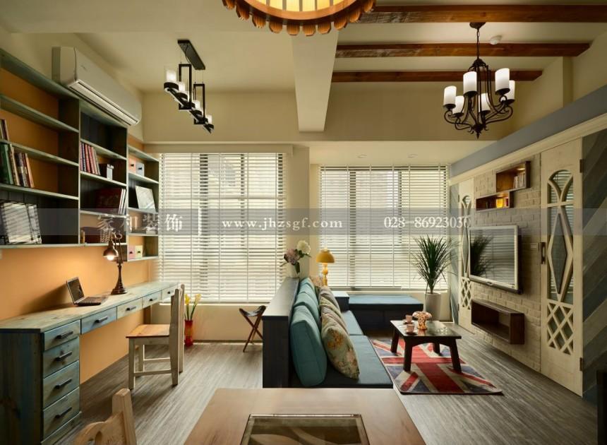 龙湖时代天街田园风格109㎡三居室装修案例