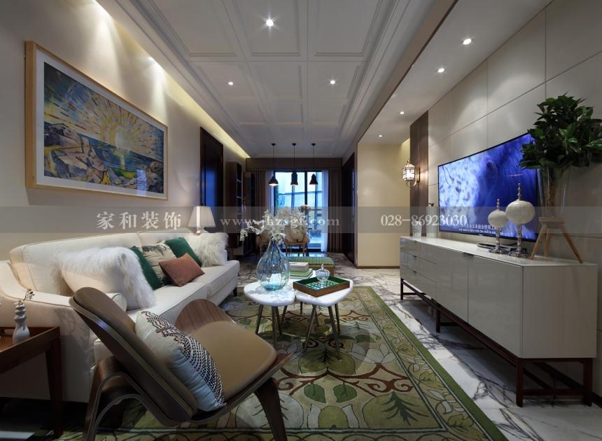 新雨香沁港式风格3居120㎡装修案例