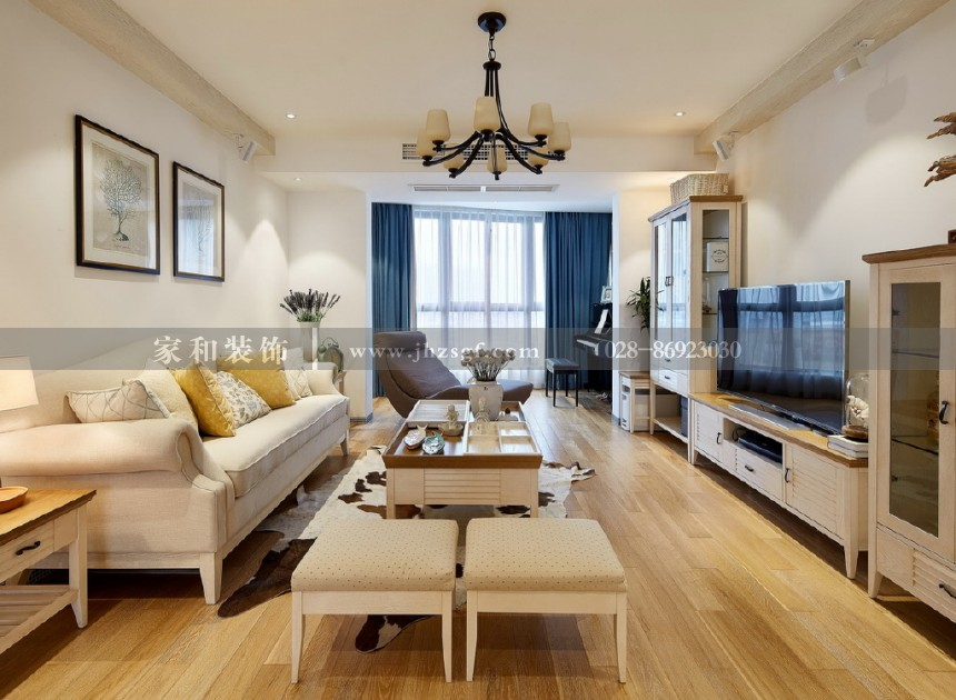 保利紫薇花语简约美式风格110㎡三居室装修案例