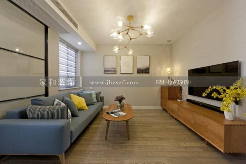 绿地468美式风格85㎡二居装修案例