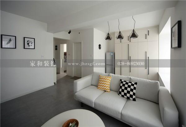 家和装饰完工照:中铁玛赛城60平黑白灰极简风格,成都小户型装修效果