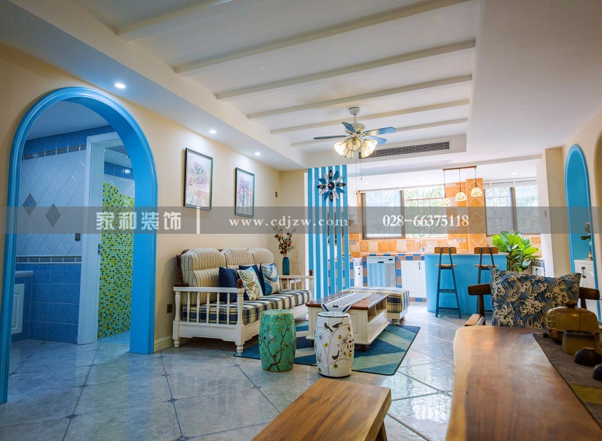 金沙西园二期地中海两居59㎡装修案例