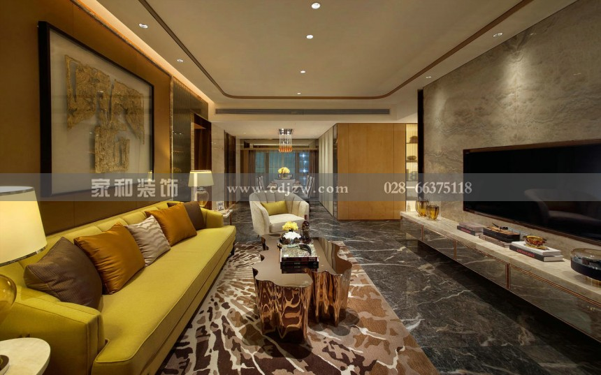 润禾花园现代奢华三居87㎡装修案例