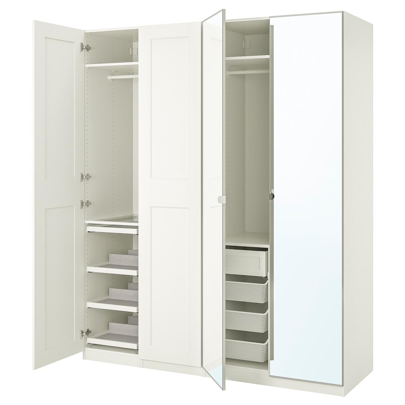 帕克思 / 格利莫/维克多 衣柜组合 白色/镜玻璃 200.0 厘米 60.0 厘米 236.4 厘米